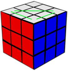обозначены 3 ближних угловых кубика верхнего креста