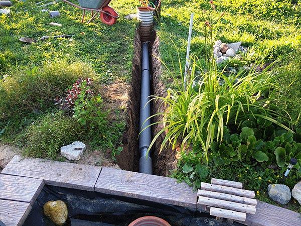 Прокладка трубы 110мм для слива воды из пруда